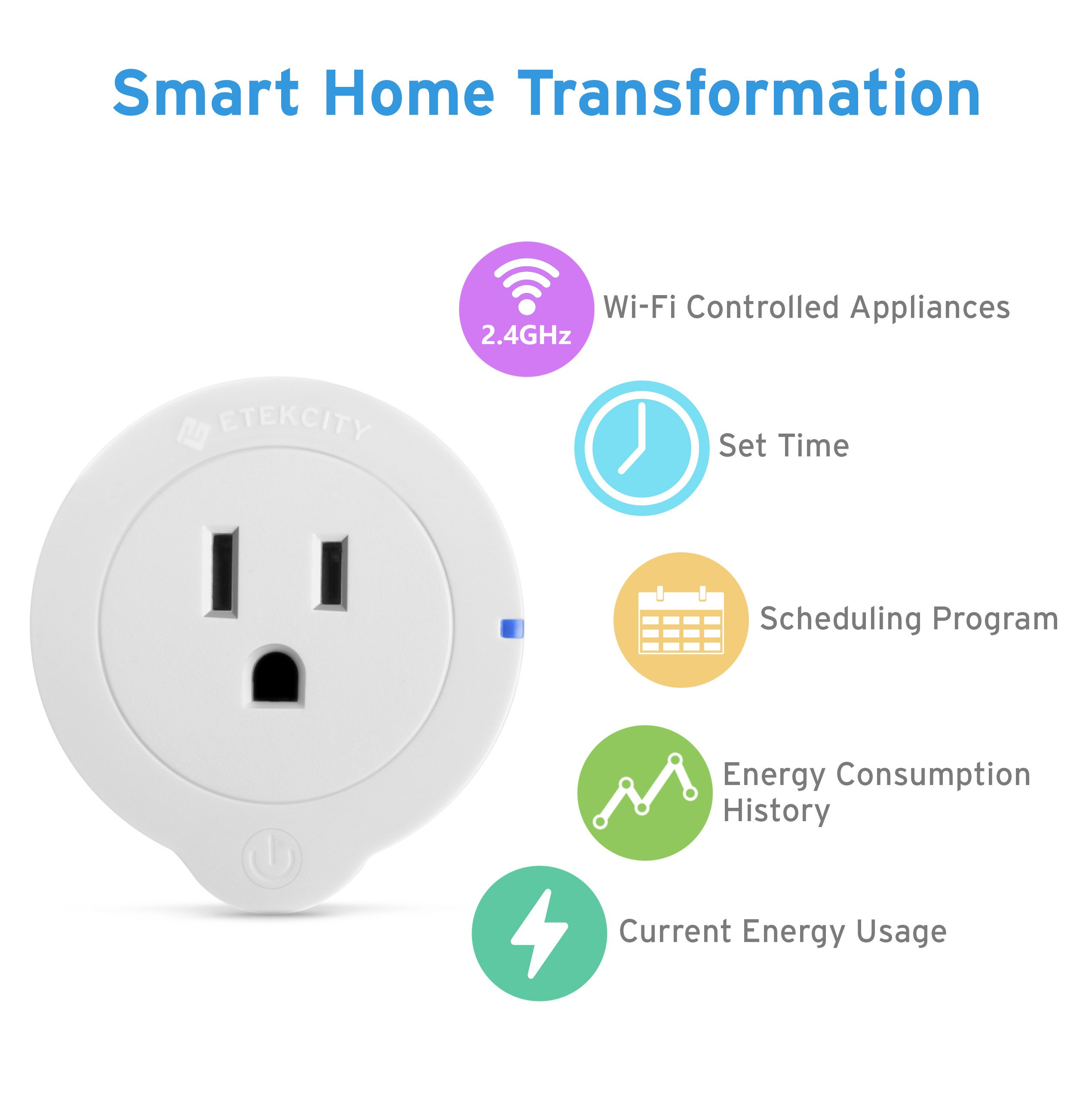 Etekcity WiFi Smart Plug, Voltson Mini Outlet with Energy Monitoring (6-Pack), No Hub Required, ETL Listed, White, Works with Alexa, Google Home and IFTTT by Etekcity (Image #2)
