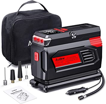 Amazon.com: Audew Air Compressor Tire Inflator - 12V Heavy Duty Portable Wheel Air Pump for Car Tires - The Most Durable and Reliable Auto Companion, Suitable for Car, SUV, Pickup, Motorcycle, Sports Balls: Automotive