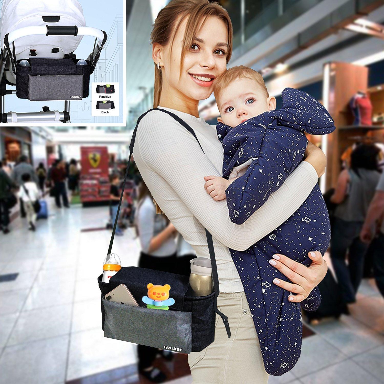 LUXSURE Buggy Tasche mit verstellbarem Gurt Buggy Organizer f/ür Spielzeug Windeln Trinkflaschen Handys und andere Babysachen Kinderwagentasche kinderwagen organizer