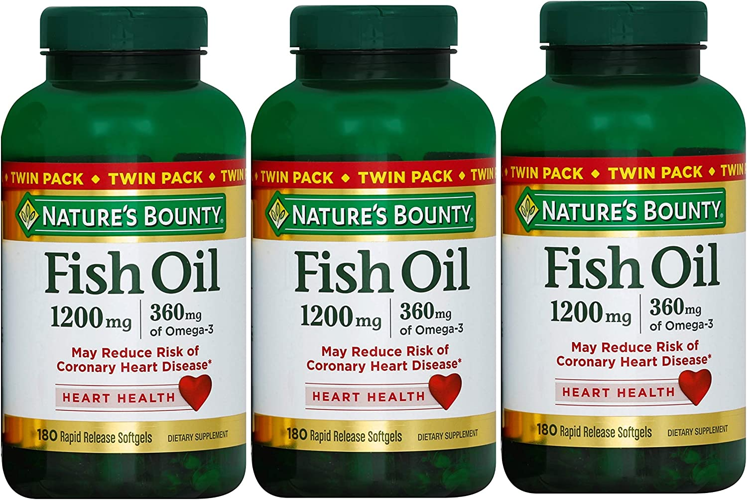 Nature's Bounty Fish Oil 1200 mg Twin Packs, 180-Count per Bottle (540 Total Count) Rapid Release Liquid Softgels