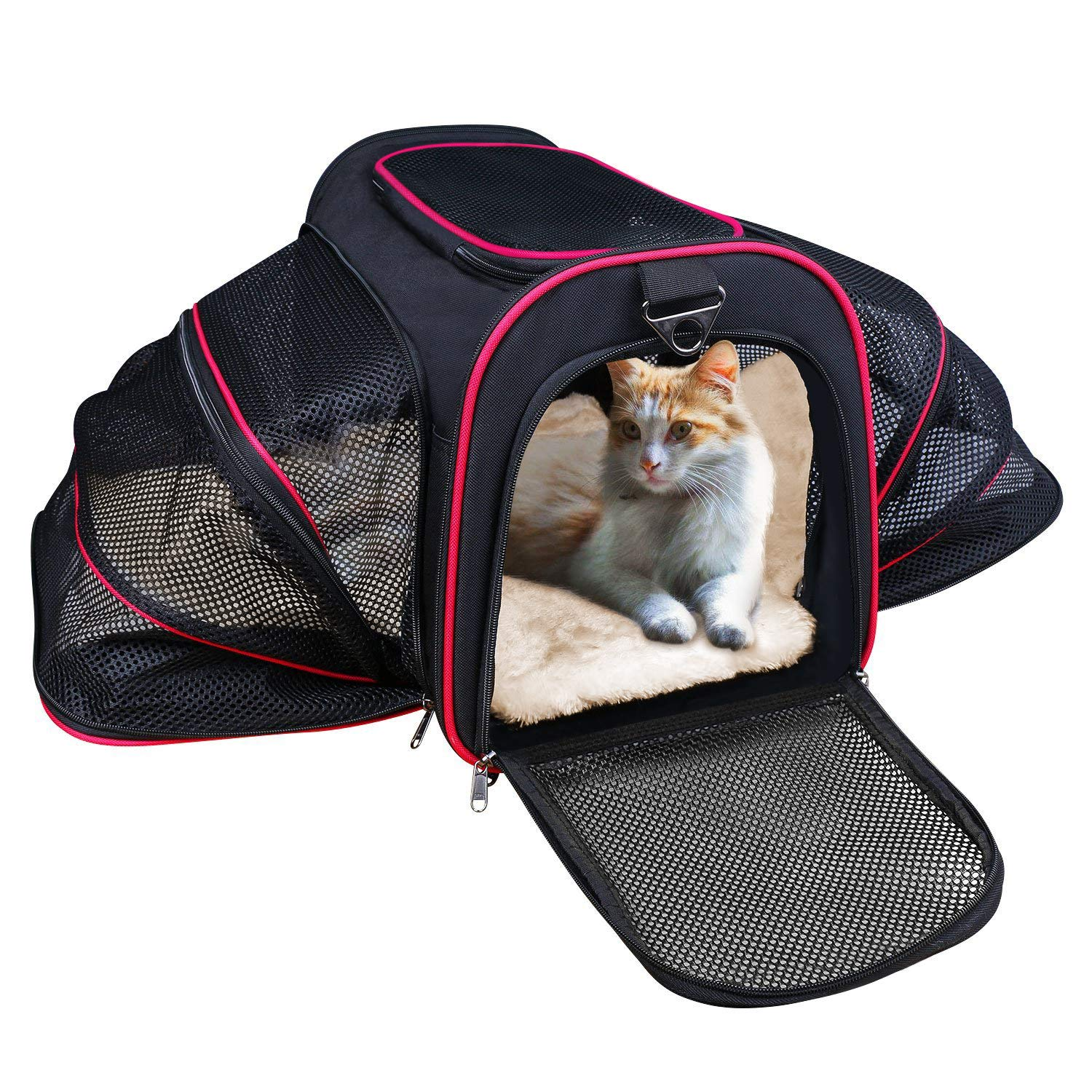 LOGROTATE Cat Carrier, Airline Approved Portable Airplane Pet Dog Carrier Soft Double Sided Expandable Travel Carriers Bag Purse for Dogs Cats Kittens Puppies & Small and Medium Animals
