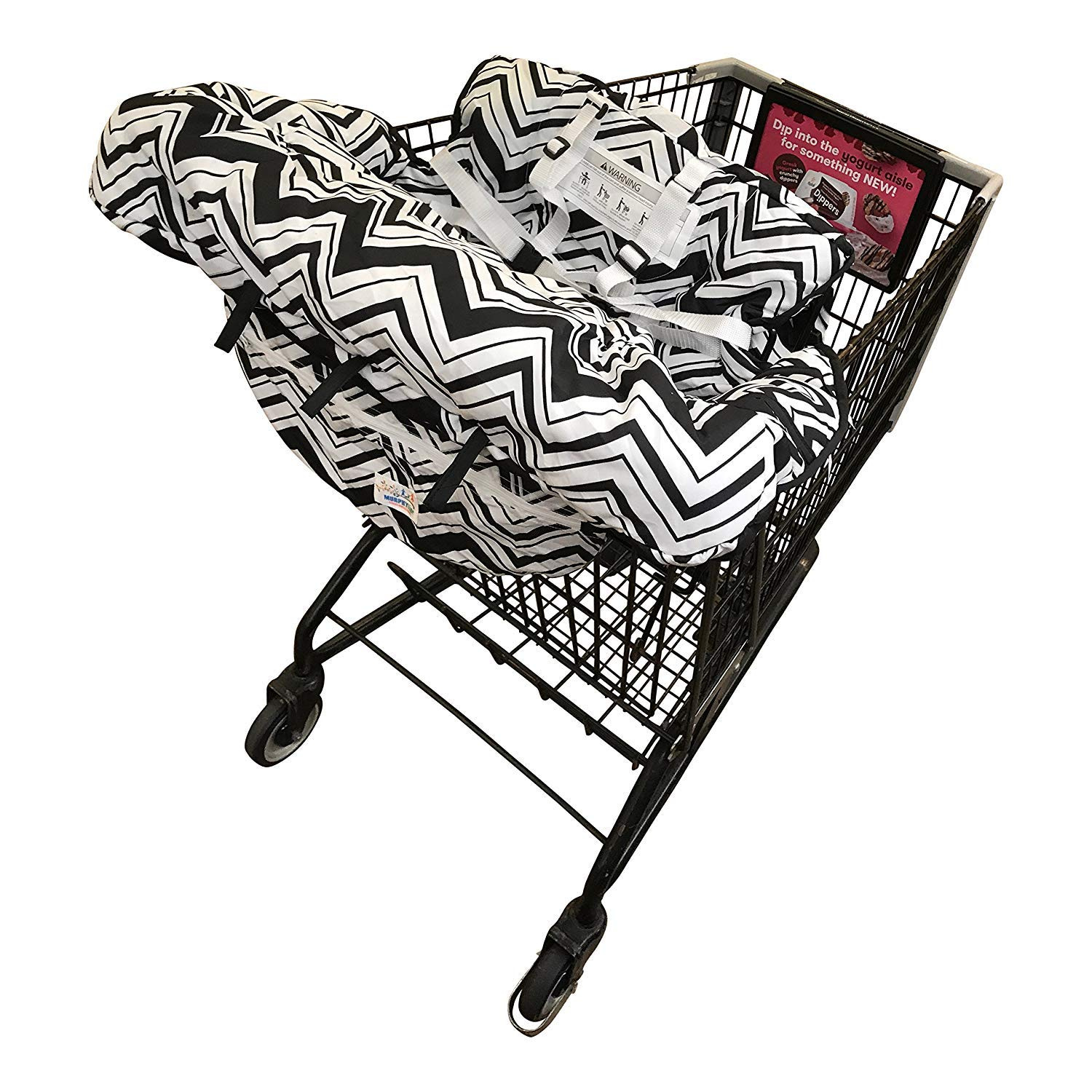 Shopping Cart Cover For Baby- 2-in-1 - Foldable Portable Seat with Bag for Infant to Toddler - Compatible with Grocery Cart Seat and High Chair - ...