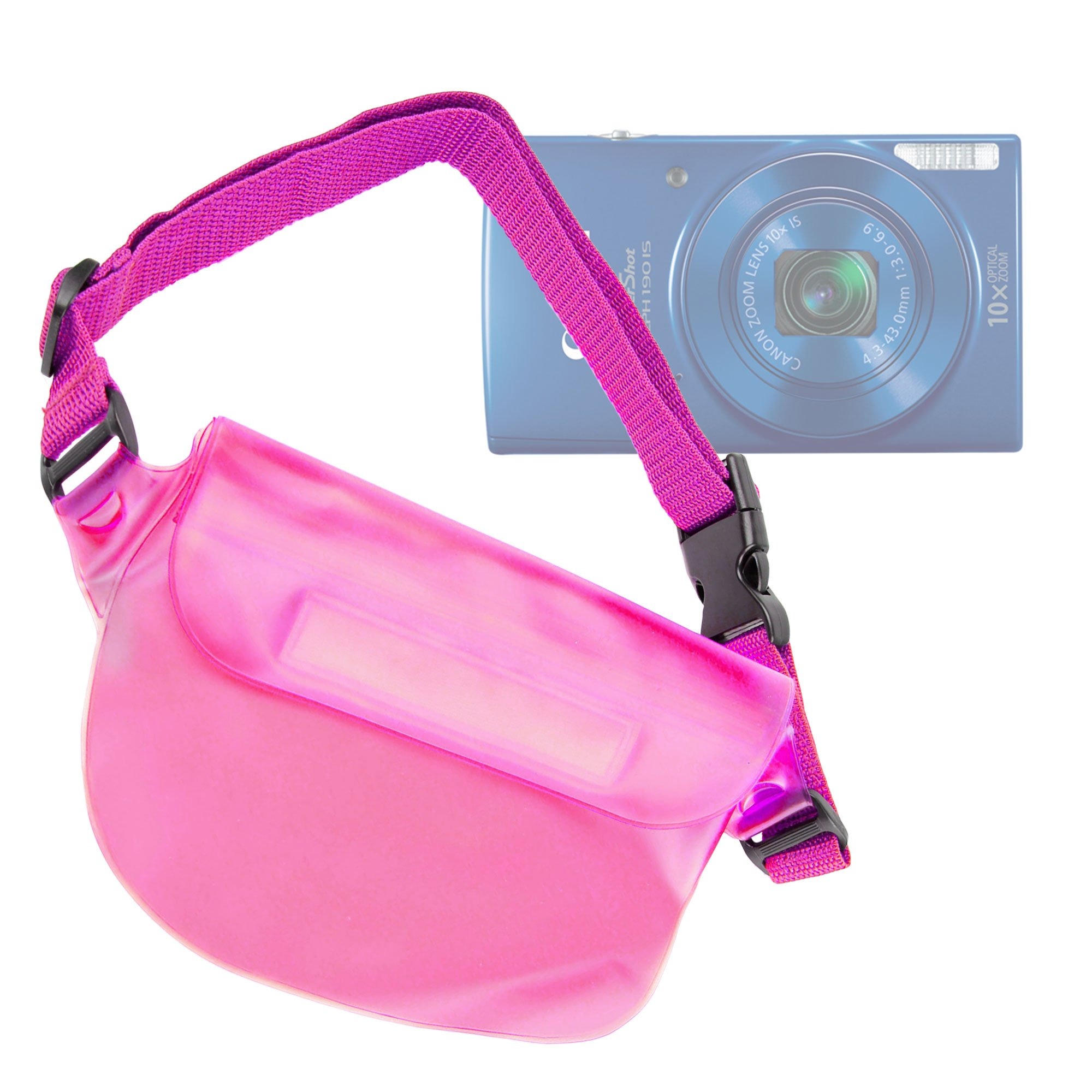 DURAGADGET Pink Water-Resistant Pouch-Style Case with Strap - Compatible with the NEW Canon ELPH 360 HS / Canon Powershot ELPH 180 / Canon Powershot ELPH 190 IS Cameras