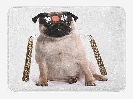 Icndpshorts Pug Bath Mat, Ninja Puppy with Nunchuk Karate ...