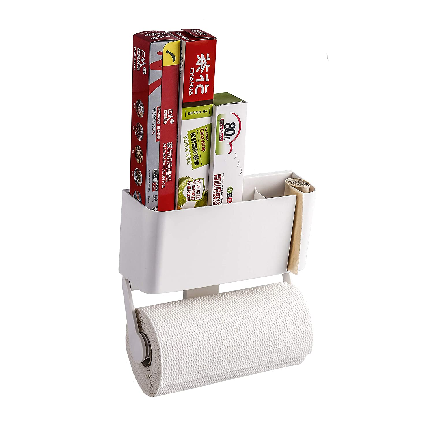 Magnetic Paper Towel Holder with Storage Box, Multifunctional Kitchen Rack Organizer Suitable for Refrigerator,Microwave Oven and Metal Surface