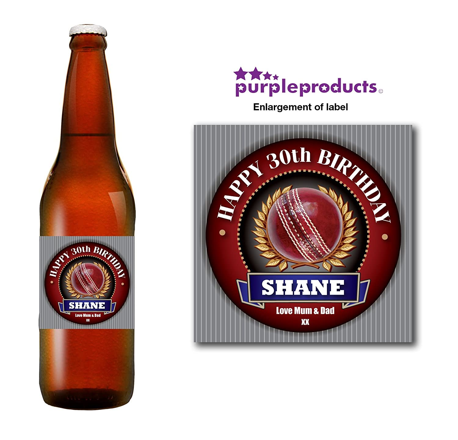 Personalised Cricket Player Fan 18th 21st 30th 40th 50th Birthday Beer Bottle label Gift Purple Products