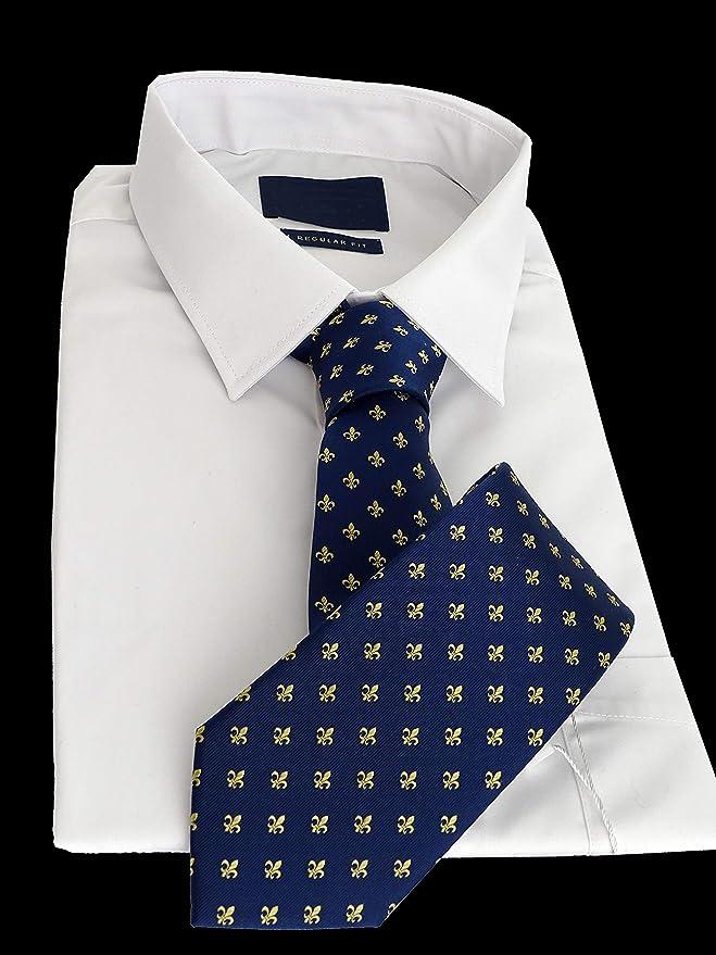 Corbata azul con la flor de lis en oro, fabricada a mano, en 100 ...