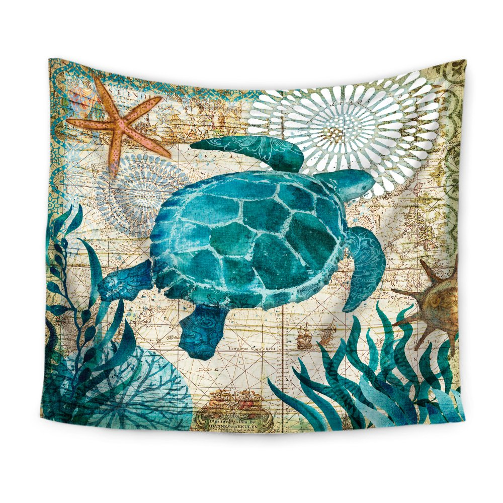 Econie Sea Turtle Bohemian Tapestry Marine Life Bohemian Tapestry, Mandala Wall Hanging Tapestry Wall Art Decor, Beach Throw, Table Runner/Cloth,51'' x 60''Inches (04)