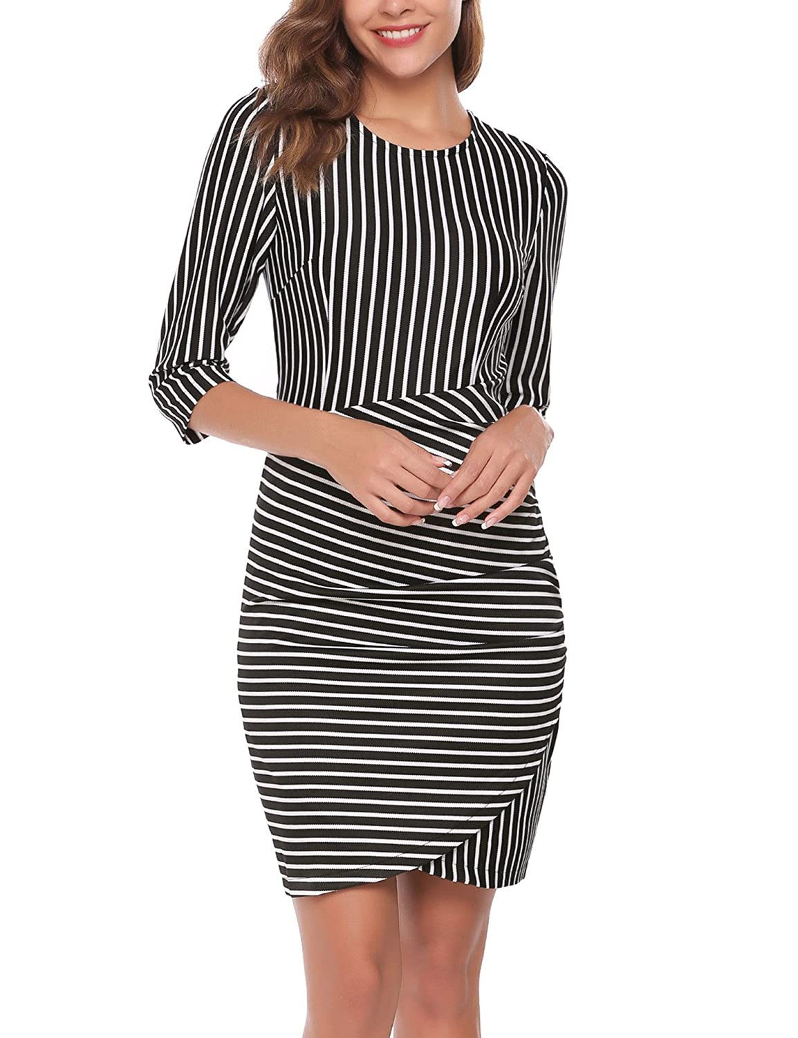 71939a557 Round neck, black and white striped, back zipper, tight sheath wrap dress,  ruched, 3/4 sleeve. Waisted slim fit, above knee contrast color tulip hem  bodycon ...
