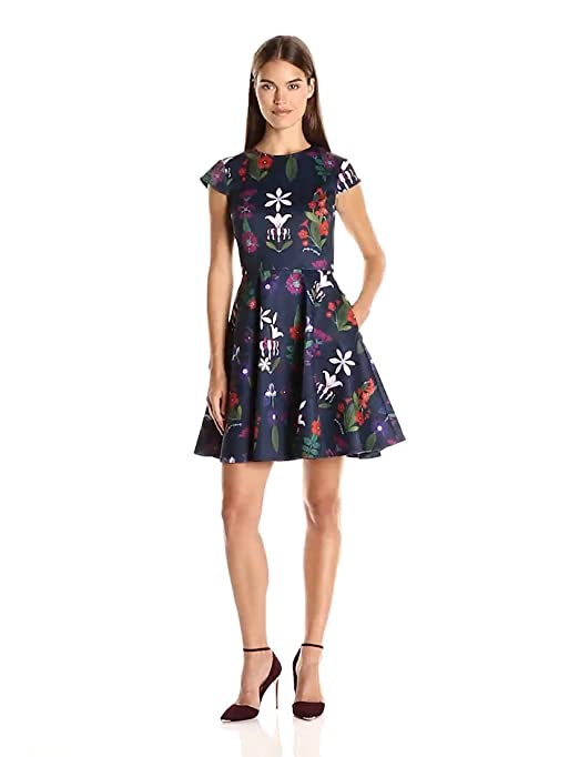 Amazon.com: Ted Baker Womens Seesee Fold Sleeve Skater Dress, Navy, 2: Clothing