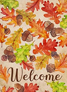Furiaz Welcome Fall Garden Flag, Autumn Home Decorative House Yard Outdoor Small Flag Maple Leaves Pine Cone Decor, Vintage Farmhouse Decoration Seasonal Outside Thanksgiving Flag Double Sided 12 x 18