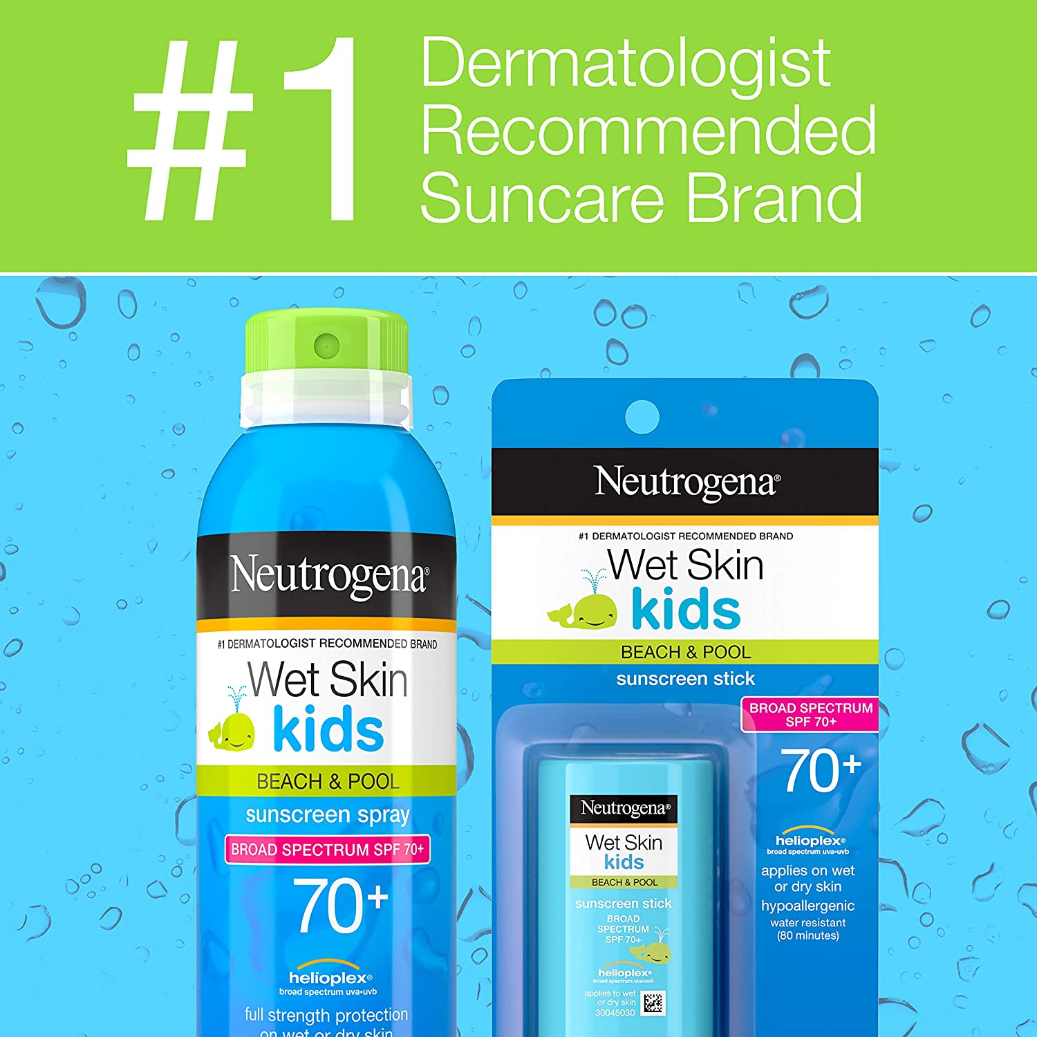 Neutrogena Wet Skin Kids Water Resistant Sunscreen Stick, Kids Sunscreen for Face and Body, Broad Spectrum SPF 70 UVA/UVB Sun Protection, Oil-Free & Hypoallergenic, 0.47 oz: Beauty