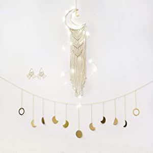 JADE LUXE Macrame Dream Catcher Hanging Wall Decor with Free Moon Decor & Macrame Earrings with Pre Twined Lights   Wall Decor for Bedroom Teen Girl   Decor for Teenage Girls Bedroom   US Brand