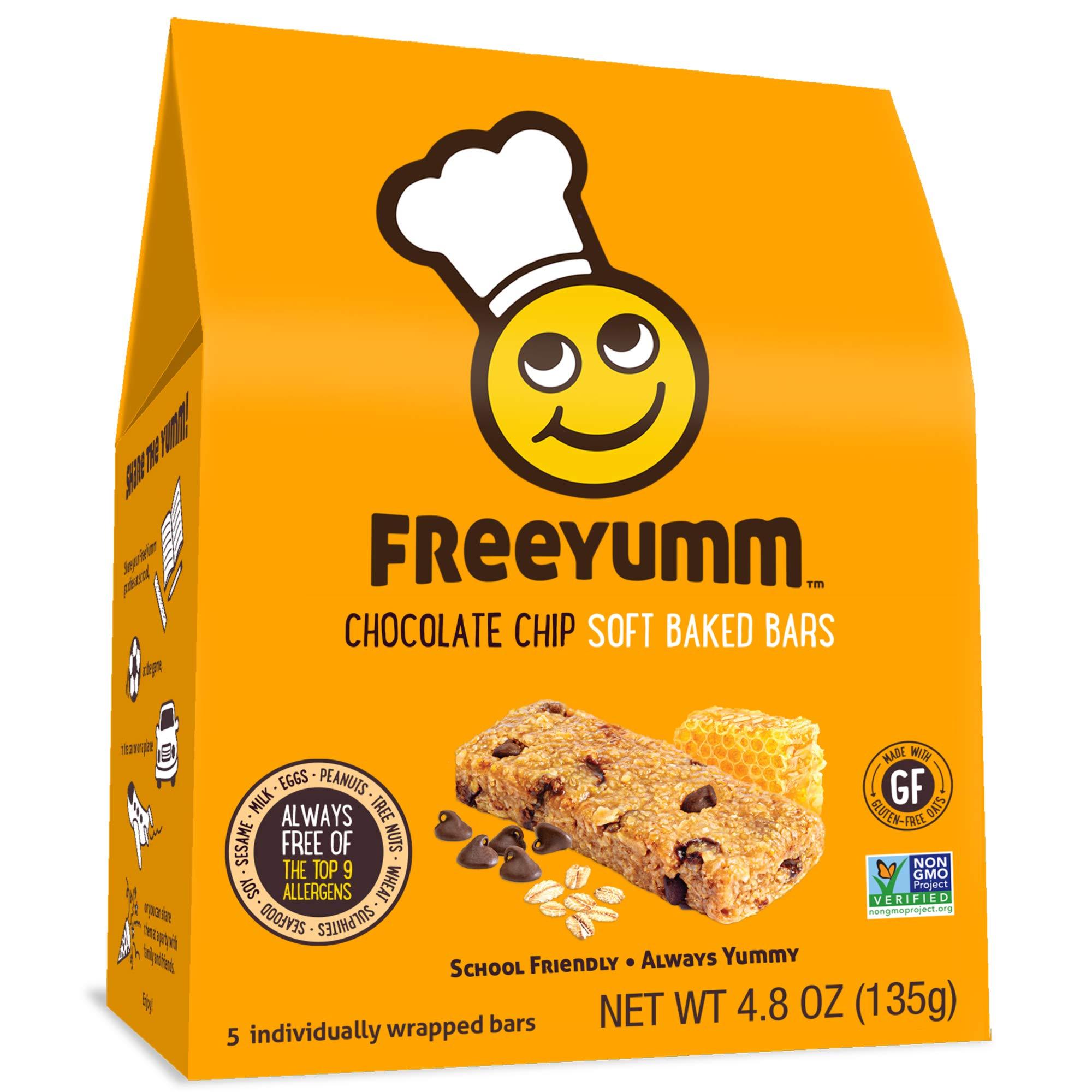 FreeYumm Allergen Free Granola Bars, Gluten Free, Dairy Free, Nut Free Snacks for Kids, Total of 15 Bars (Chocolate Chip) by FreeYumm