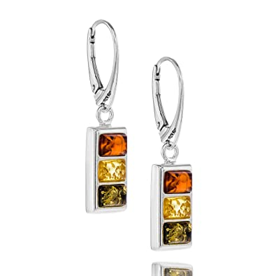 0cb78cf31abd Copal Ladies amber Earrings Silver 925 multicoloured Squares gift ...