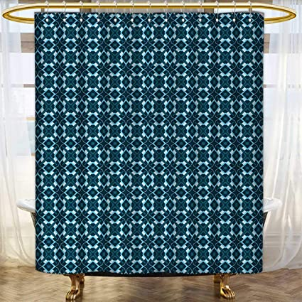 Anhounine Retro Fabric Shower Curtains Vintage Geometric Arrangement With Rhombuses And Star Shapes Illustration Satin