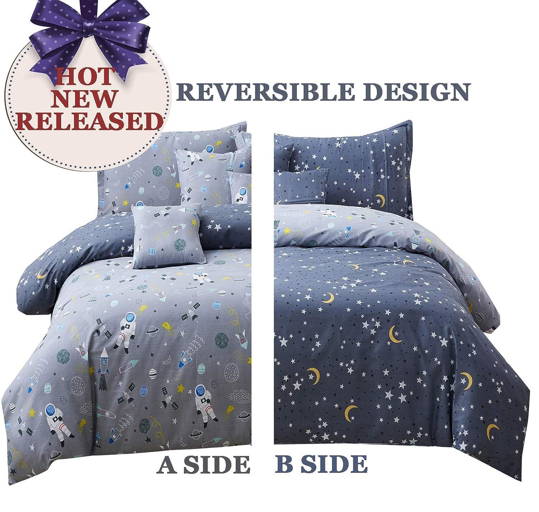Brandream Kids Bedding Sets Full Size Boys Duvet Cover Set Reversible Astronaut Space Galaxy Bedding Sets Gray Duvet Cover Pillow Shams Set 100% Cotton Zipper Closure
