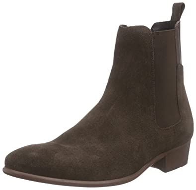 e08e884f0 H by Hudson Mens Watts Suede Casual Work Pull On Black Chelsea Boots -  Brown -
