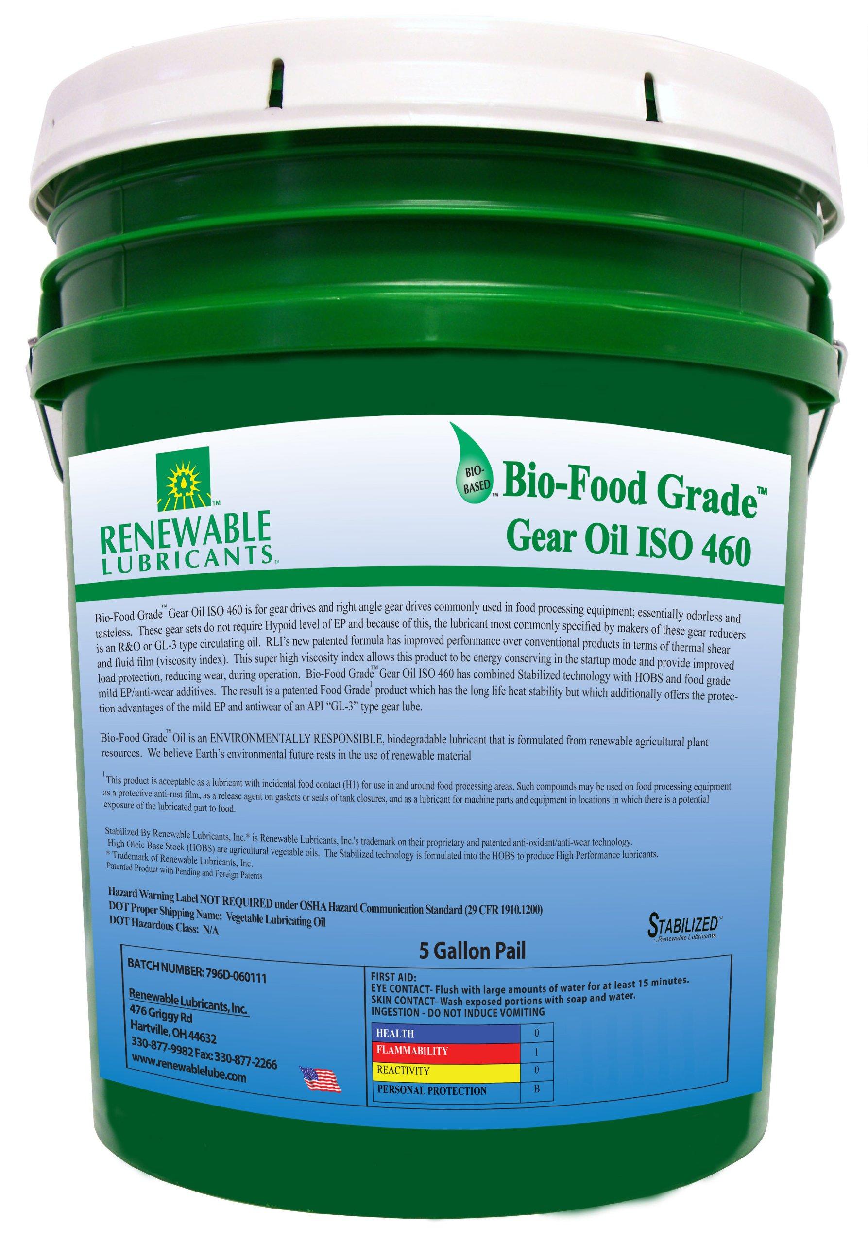 Renewable Lubricants Bio-Food Grade ISO 460 Gear Oil, 5 Gallon Pail