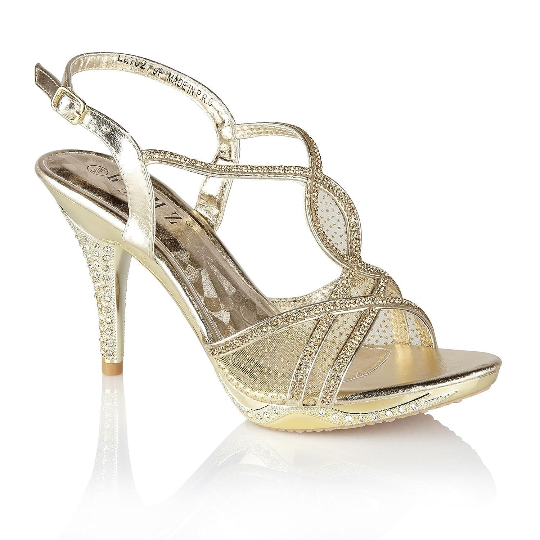 GEMZ London 279, scarpe con tacco alto diamante sandali sera Prom partyGold