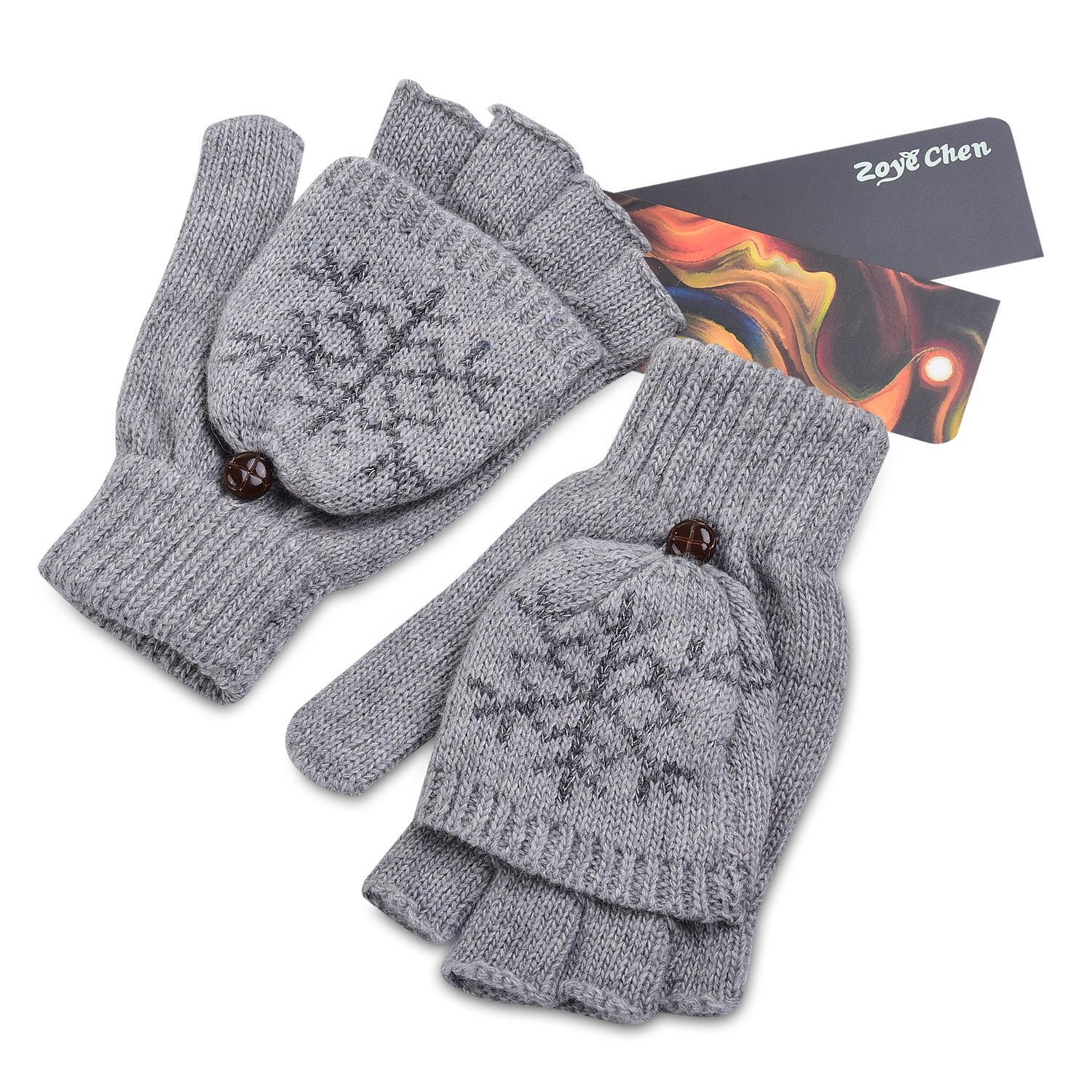 Winter's Thermal Insulation Mittens Warm Wool Knitted Convertible Fingerless Unisex Gloves (Gray)