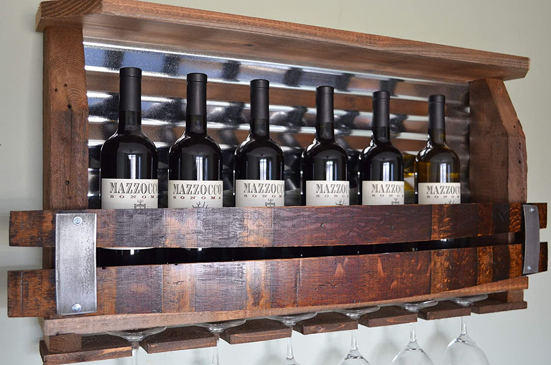 Lighted Reclaimed winewhiskey rack