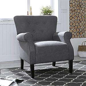 LOKATSE HOME Accent Armchair Single Sofa Modern Comfortable Furniture for Living Room, Club, Bedroom, Dark Grey