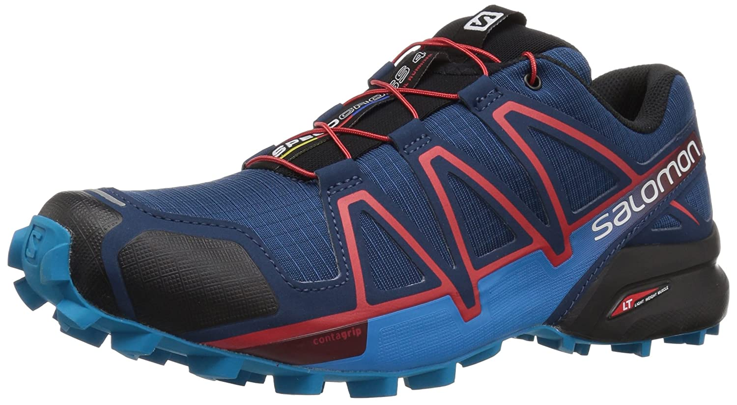Salomon Herren Speedcross 4 Traillaufschuhe  42 2/3 EU|Blau (Poseidon/Hawaiian Surf/Fiery Red 000)