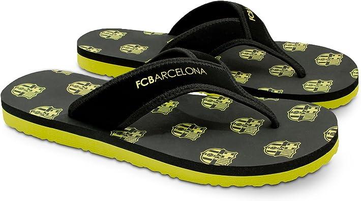 Amazon Com Fc Barcelona Men Flip Flop Sandal Water Resistant Slippers For Pool Beach Black Neon Sandals