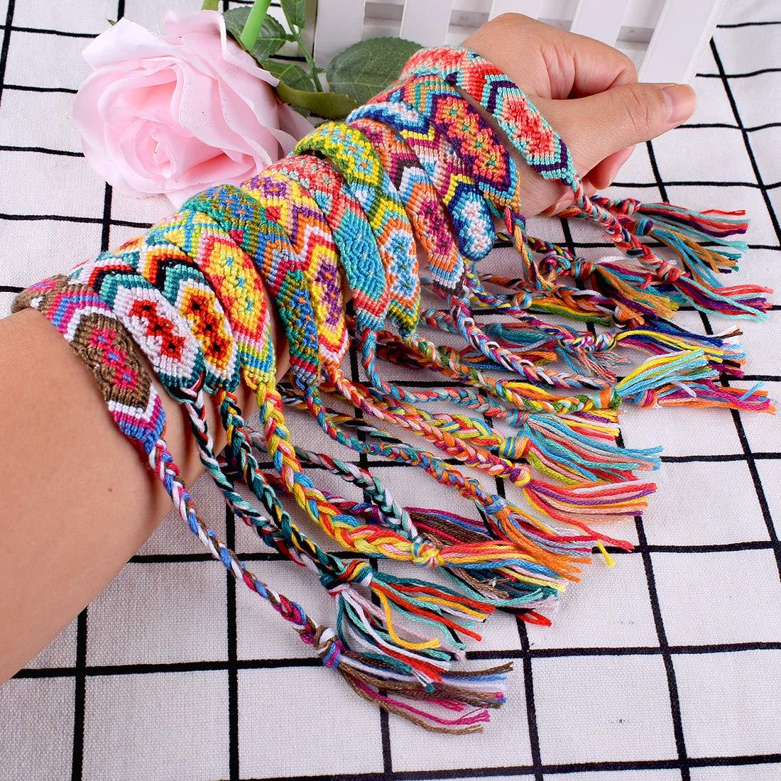 12pcs Bracelets Tiss/és Bracelets dAmiti/é /à la Main pour Poignet Cheville Multicolore R/églable Ideal Cadeau Diff/érents styles N/épal