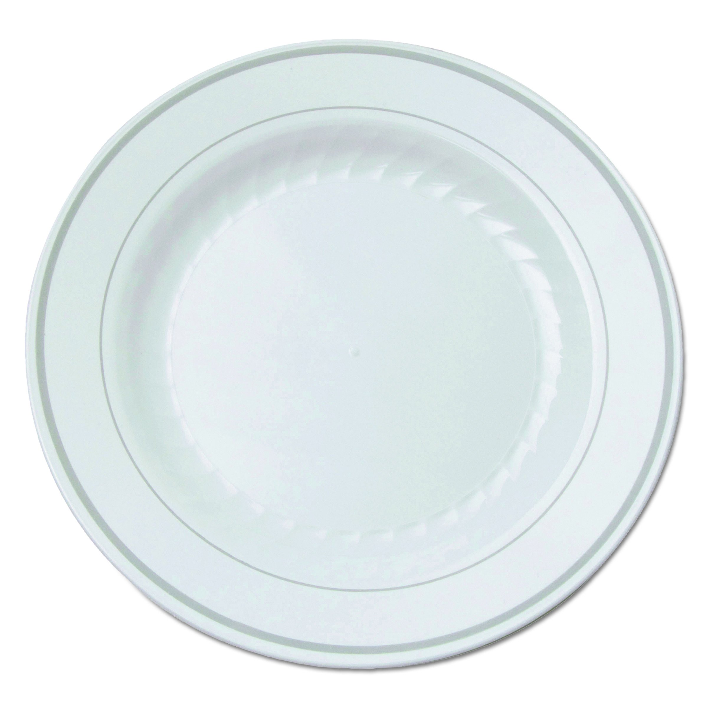 WNA RSM61210WS Masterpiece Plastic Plates, 6 in., White w/Silver Accents, Round (Case of 120)