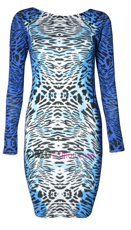 WOMENS LONG SLEEVED BLUE LEOPARD PRINT MINI DRESS (MTC)