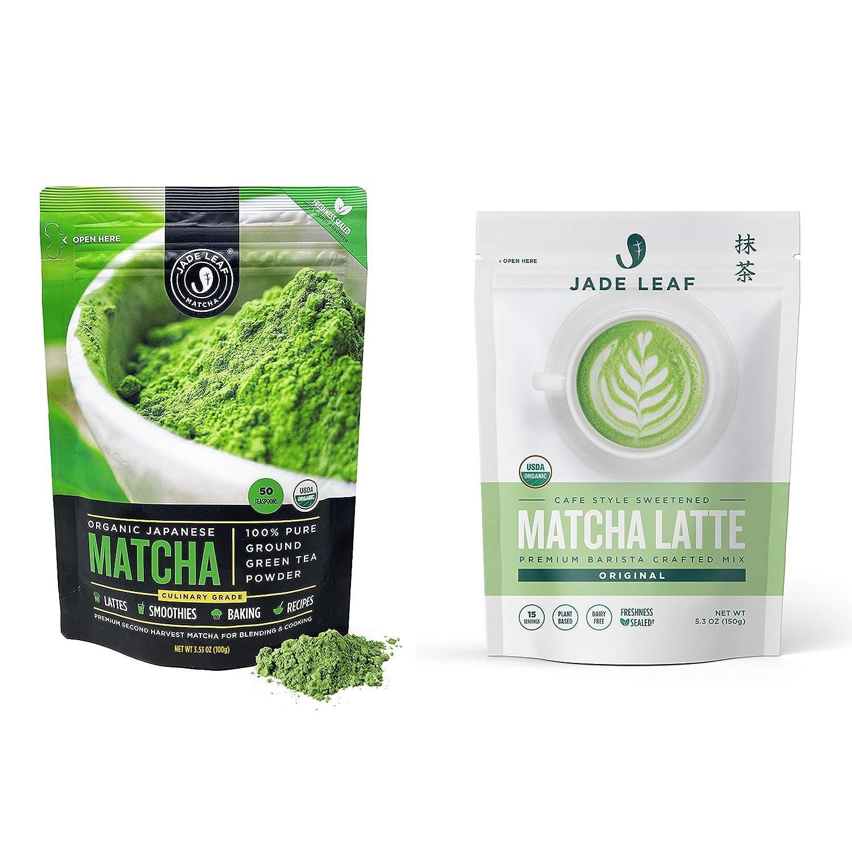 Jade Leaf Matcha + Latte Mix Bundle - Organic Matcha Green Tea Powder Culinary Pouch (100g) and Cafe Style Sweetened Matcha Latte Mix (150g)