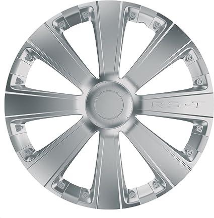 Car Plus 8050RSB RST Silver- Juego de 4 tapacubos de alta calidad ...