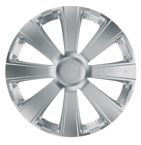 Car Plus 8050RSB RST Silver- Juego de 4 tapacubos de alta calidad color plateado,