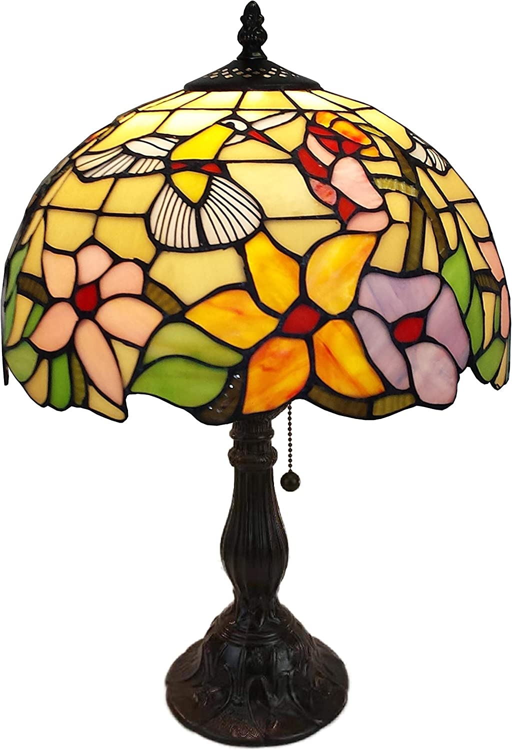 """Amora Lighting Tiffany Style Table Lamp Banker 19"""" Tall Stained Glass Yellow Red Tan Floral Hummingbird Vintage Antique Light Décor Living Room Bedroom Office Handmade Gift AM1112TL12B, Multicolor"""