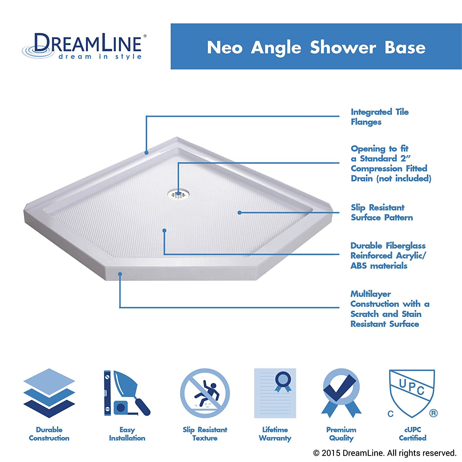 Exceptionnel DreamLine SlimLine 38 In. X 38 In. Neo Angle Shower Tray, DLT 2038380   Shower  Bases   Amazon.com