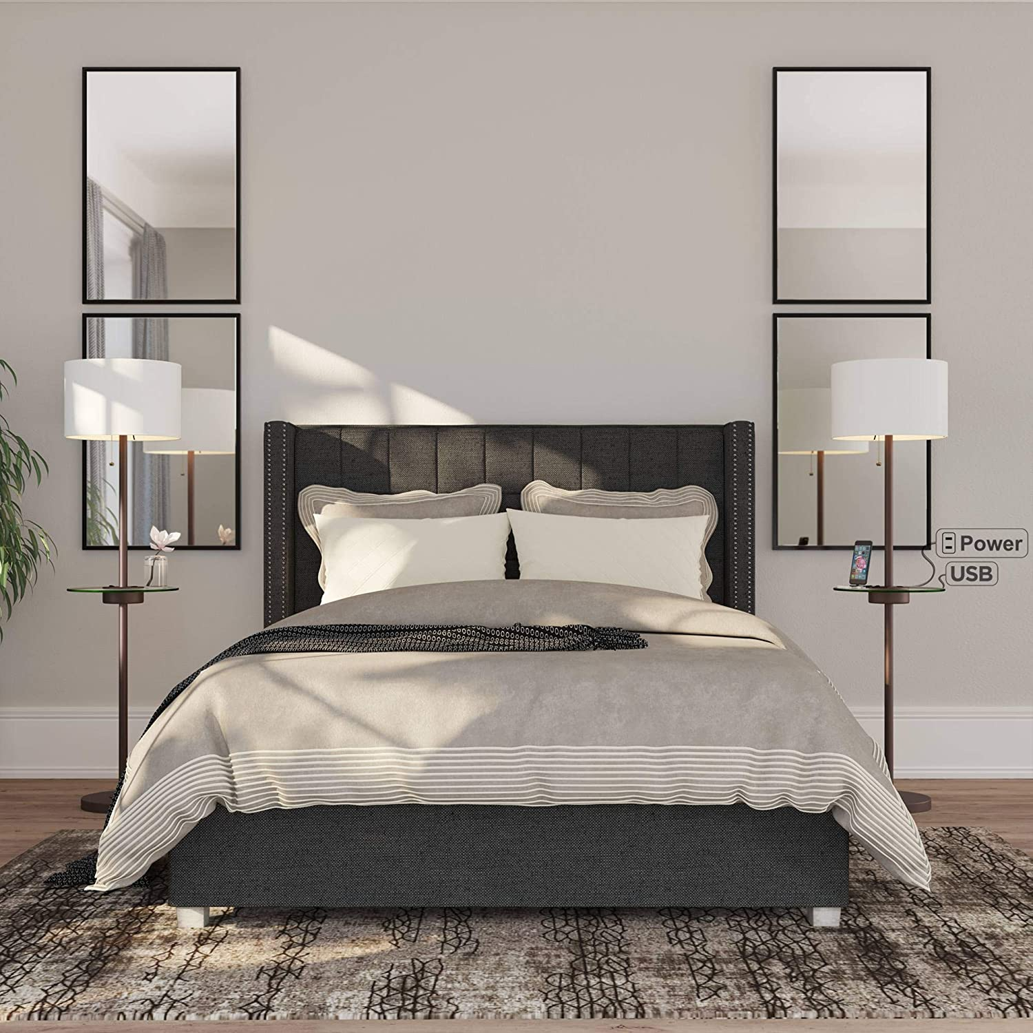 Caper Modern Contemporary Floor Lamps Set of 2 with Tray Table USB Charging Port Bronze Metal Off White Fabric Drum Shades Decor Living Room Reading House Bedroom Home Office - 360 Lighting