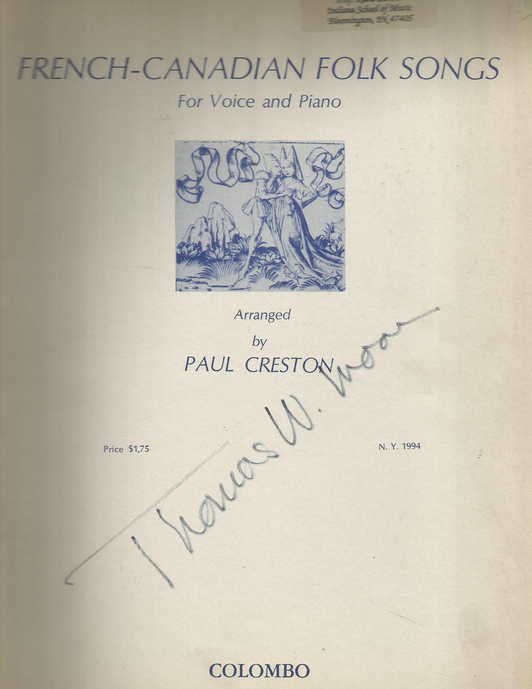 Paul Creston French-Canadian Folk Songs for Voice & Piano: Paul