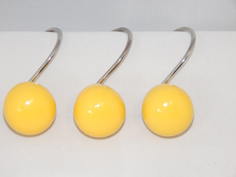 BH Home & Linen Yellow Orbit 12 Shower Curtain Hooks Retro Ball Bath