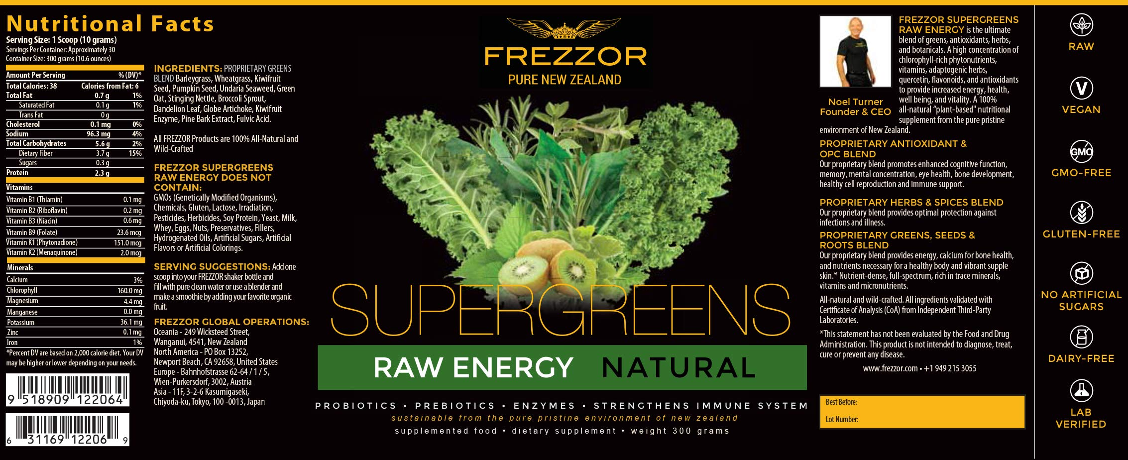 FREZZOR Pure New Zealand | Supergreens Shake | Immune & Energy Booster | Green Superfood Supplement | Antioxidants | All-Natural | Lab Certified