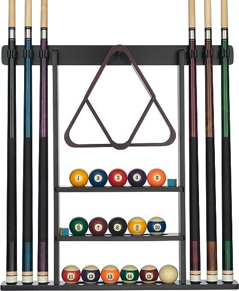 Billiards Xpress - Soporte de pared para tacos de billar con 16 ...