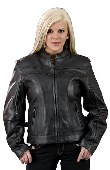 ML7091-BLK-4X Milwaukee Leather Womens 1.2mm Naked Cowhide Stylish Scooter Jacket Black, 4X-Large