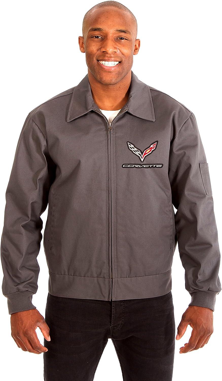 Men's Chevy Corvette Mechanics Jacket Front Chest Emblem in Black Gray Navy: Clothing