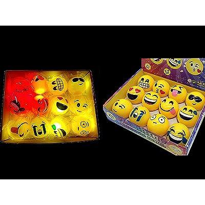 "W Free Bag + 12 LED Emoji Light Up Balls - Flashing Rubber Bouncy 2"" Balls for Kids Party Fun, Emoji Themed Packs, 12-Pack Get 1 Free Emoji Bag: Toys & Games"