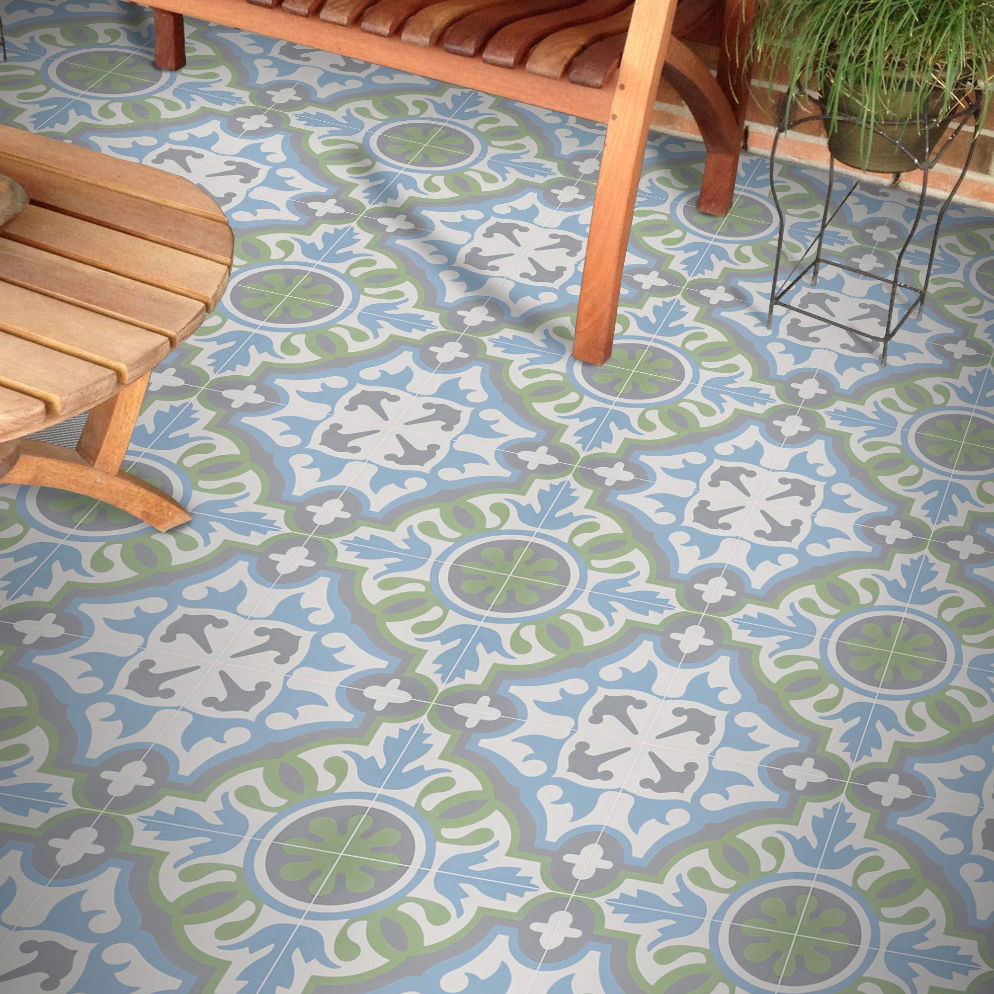 "Moroccan Mosaic & Tile House CTP05-08 BAHA Handmade Cement Tile 8""x8"" Blue, Green, Grey"