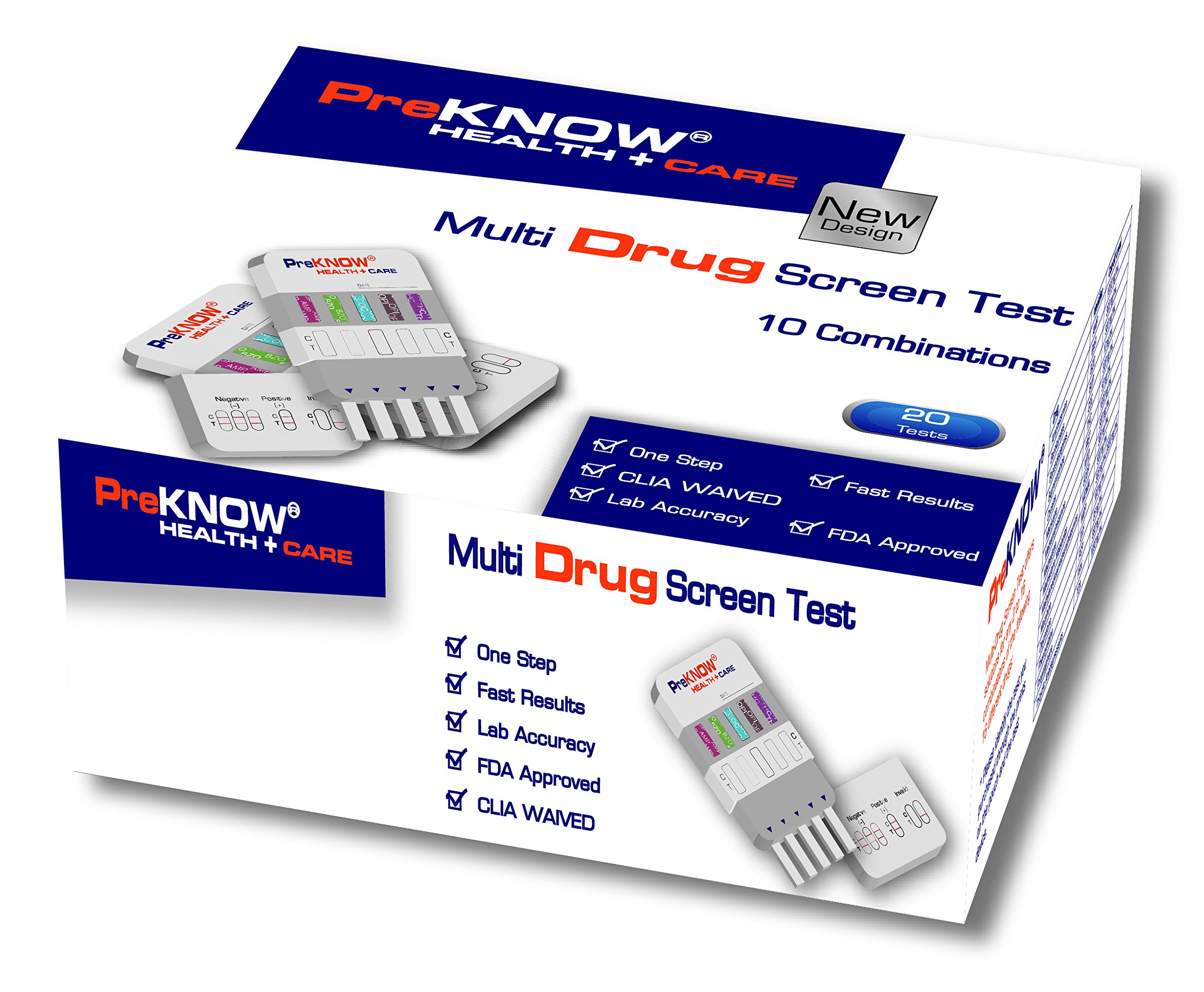 20-Count PreKnow 10 Panel Multi-Drug Test DipCard (BAR-BUP-BZO-COC-MET-MTD-OPI-OXY-TCA-THC) -FDA Approved for OTC Use -Item# IDOA-1105-20P
