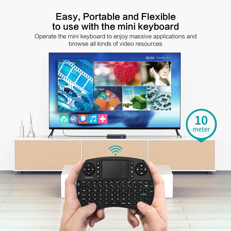 TICTID 2018 4K TV Box Android 7.1【2G + 16G】 avec Mini Clavier Touchpad AX9 Max WiFi IEEE 802.11 b/g/n 2.4G Quad-Core 64-bit True 4K Play H.265