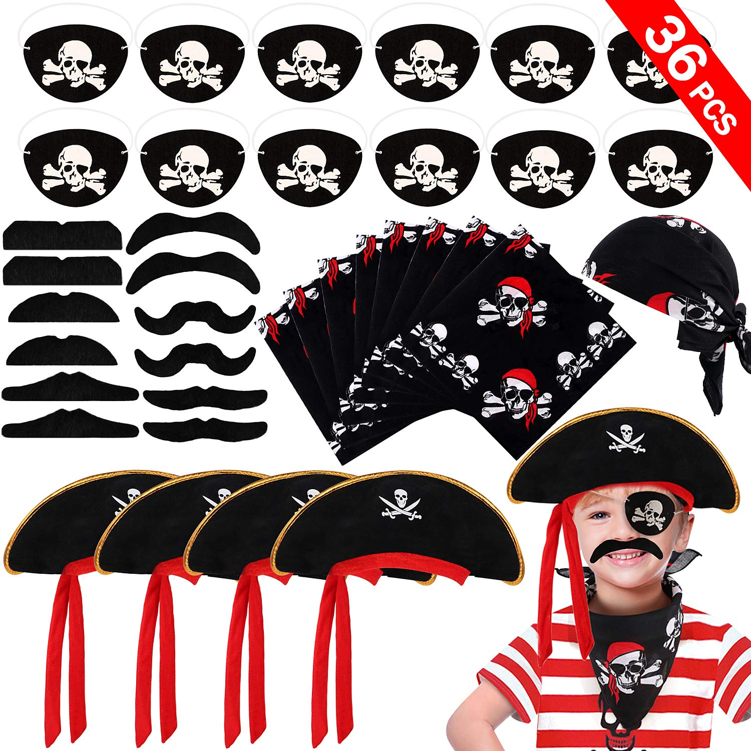 VAMEI 36PCS Pirate Party Supplies for Kids Boys - Pirate Cap, Skull Print Pirate Bandana, Eye Patch, Fake Mustache Cosplay Set Pirate Party Favors for Halloween Masquerade Pirate Party Decorations Accessories by vamei