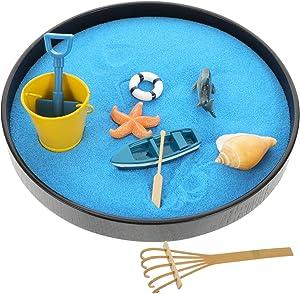 Toyvian Sandbox Mini Zen Garden Sandbox Miniature Beach Zen Garden for Desk Sand Tray Play Kit